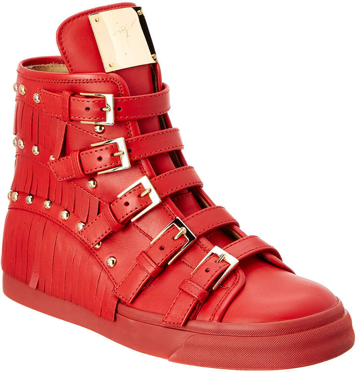 Giuseppe Zanotti Fringe Leather High Top Wedge Sneaker