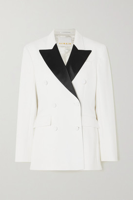 REMAIN Birger Christensen Augustina Double-breasted Satin-trimmed Twill Blazer - White