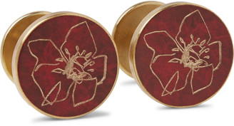 Jessica Rose + Bird Poppy Patina Brass Cufflinks