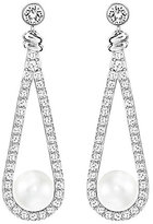 Swarovski Enlace Pave & Pearl Drop Earrings