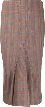 Junya Watanabe Comme Des Garçons Pre Owned High-Waist Check Midi Skirt