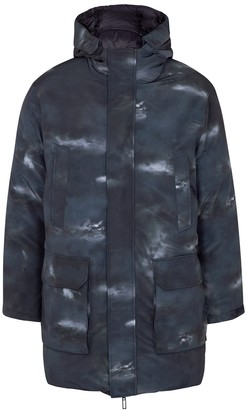 Emporio Armani Navy printed reversible shell coat