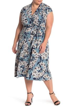 London Times Wrap Top Knit Midi Jersey Dress (Plus Size)