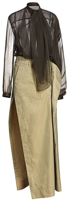 Sacai Organza & Cotton Maxi Dress
