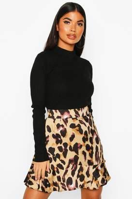 boohoo Petite Leopard Print Frill Hem Mini Skirt