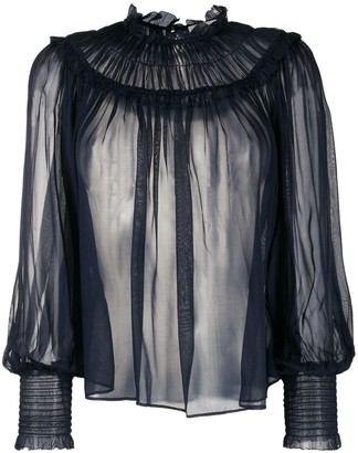 Ulla Johnson ruffled silk peasant blouse