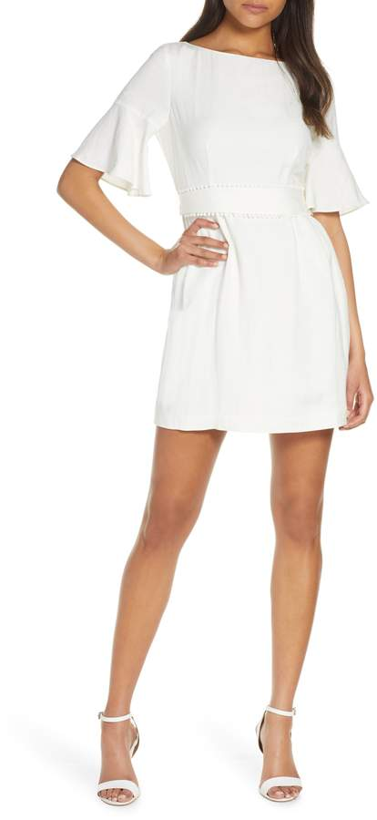 Eliza J Pompom Detail Bell Sleeve Linen Blend Dress