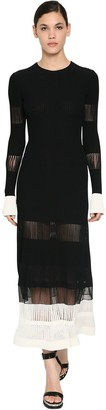 Alexander McQueen Ribbed Ottoman Viscose Sheer Midi Dress