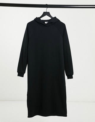 Noisy May midi hoodie sweat dress with zip sides in black