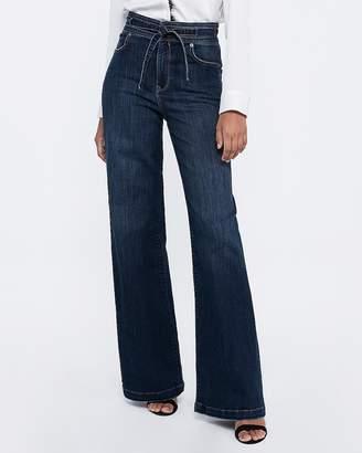 Express Super High Waisted Sash Tie Wide Leg Jeans