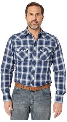 Wrangler Retro Long Sleeve Plaid Snap (Black/Navy) Men's Clothing