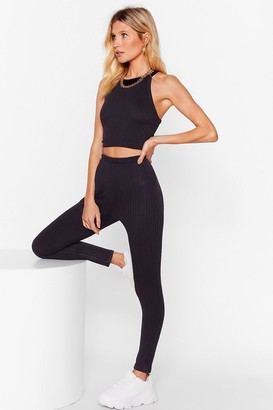 Nasty Gal Womens Recycled Move Closer Ribbed High-Waisted Leggings - black - 8