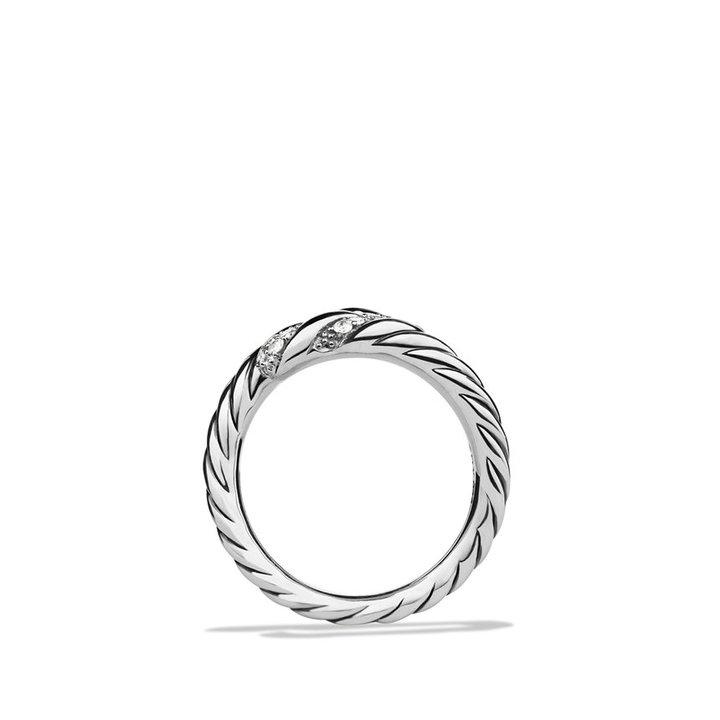 David Yurman Willow Open Single-Row Ring with Diamonds