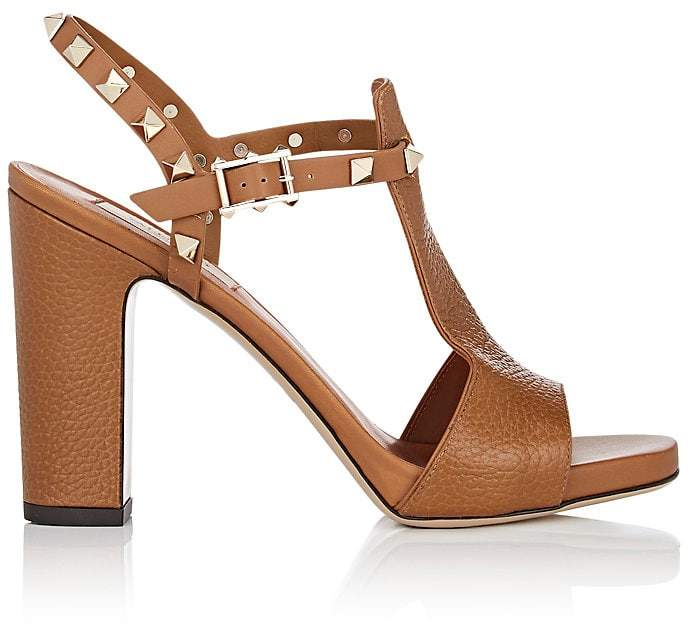 Valentino Women's Rockstud Leather T-Strap Sandals
