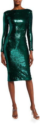Dress the Population Emery Sequin Long-Sleeve Dress