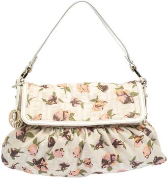 Fendi Beige Floral Print Zucca Canvas and Leather Chef Shoulder Bag