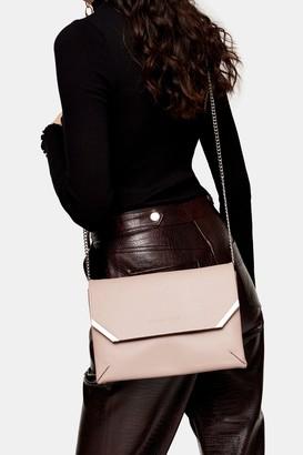 Topshop SHINE Pale Pink Clutch Bag