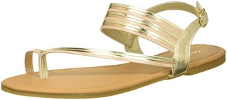 Qupid Women's Flat Sandal with Toe Ring