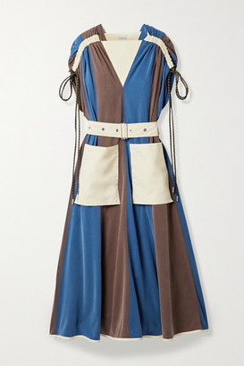 MONCLER GENIUS + 2 Moncler 1952 Abito Paneled Shell And Washed Cupro-blend Midi Dress - Navy
