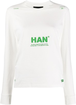 Han Kjobenhavn Long Sleeve Embroidered Logo Top