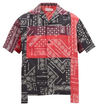 Palm Angels Patchwork Bandana Short Sleeve Cotton Shirt - Mens - Multi