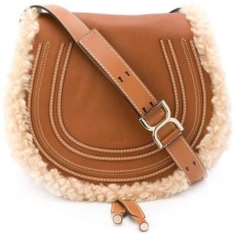 Chloé medium Marcie shearling-trim saddle bag