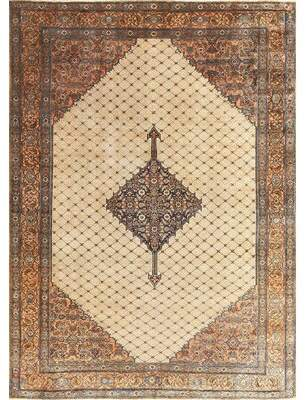 Blue & Cream Nazmiyal Collection Persian Classical Bibikabad Antique Dark Blue/Cream Area Rug Nazmiyal Collection