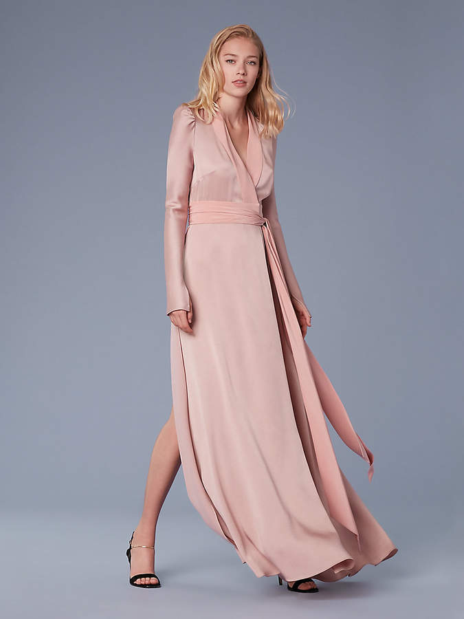 Diane von Furstenberg Long-Sleeve Maxi Wrap Dress