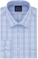 Eagle Men's Classic Fit Non-Iron Flex Collar Performance Blue and Burgundy Check Dress Shirt