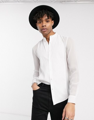 Asos DESIGN regular fit sheer shirt with contrast bib & mandarin collar