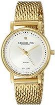Stuhrling Original Women's 734LM.04 Ascot Casatorra Elite Analog Swiss Quartz 23K Gold-Plated Mesh Bracelet Watch