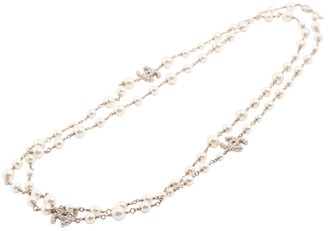 Chanel CC White Gold plated Long necklaces