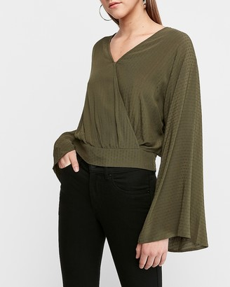 Express Bell Sleeve Wrap Front Top
