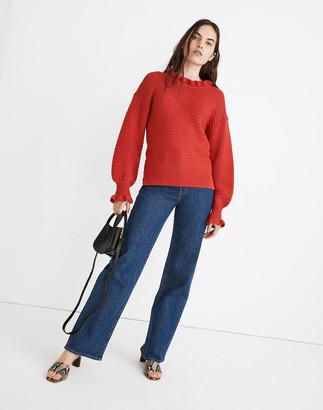 Madewell Ruffle-Neck Pullover Sweater in Cotton-Merino Yarn