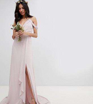 TFNC Tall Cold Shoulder Wrap Maxi Bridesmaid Dress With Fishtail