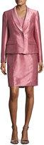 Albert Nipon Satin Single-Button Jacket w/ Dress, Pink