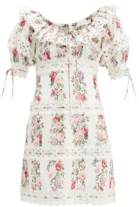 Zimmermann Honour Floral-print Pintucked Cotton-poplin Dress - Womens - Cream