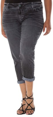 SLINK Jeans Roll Stretch Crop Boyfriend Jeans (Plus Size)