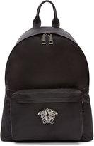 Versace Black and Gunmetal Nylon Medusa Backpack