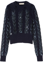 Emilio Pucci Distressed Sequin-embellished Cable-knit Wool Sweater - Navy