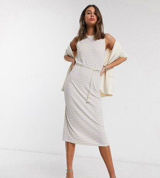 Vero Moda Tall midi dress with rope belt in cream and lilac stripe