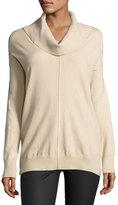 Neiman Marcus Cowl-Neck Pullover Poncho Sweater, Tan