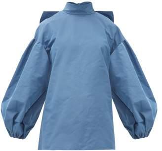 Valentino Bow-neck Cotton-blend Faille Blouse - Womens - Blue