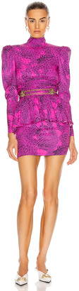 Alessandra Rich Prince of Wales Silk Open Back Mini Dress in Fuchsia | FWRD