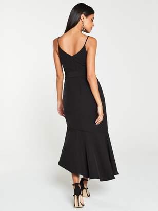 Very Belted Scuba Midi Dress - Black