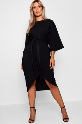 boohoo Plus Kimono Sleeve Wrap Over Midi Dress