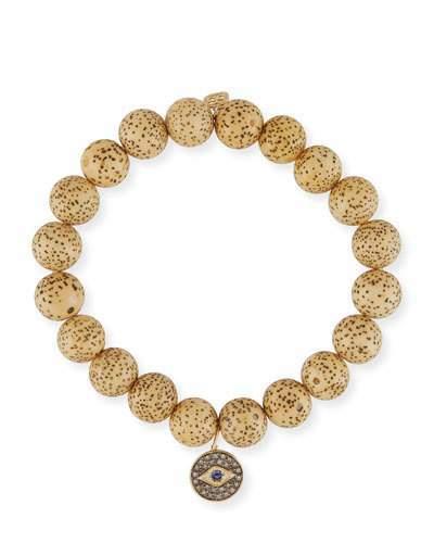 Sydney Evan Lotus Seed Beaded Bracelet w/ 14k Diamond Evil Eye Charm