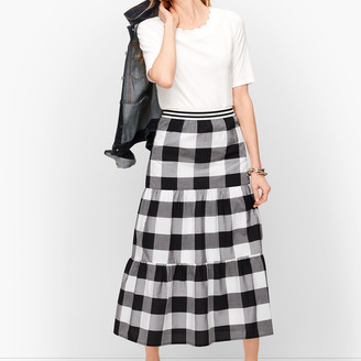 Talbots Buffalo Check Tiered Midi Skirt
