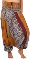 Lofbaz Women's Smocked Waist Rose Pattern 2 in 1 Harem Pants Jumpsuit White XL