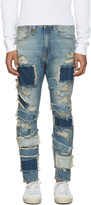 R 13 Blue Patchwork Drop Jeans